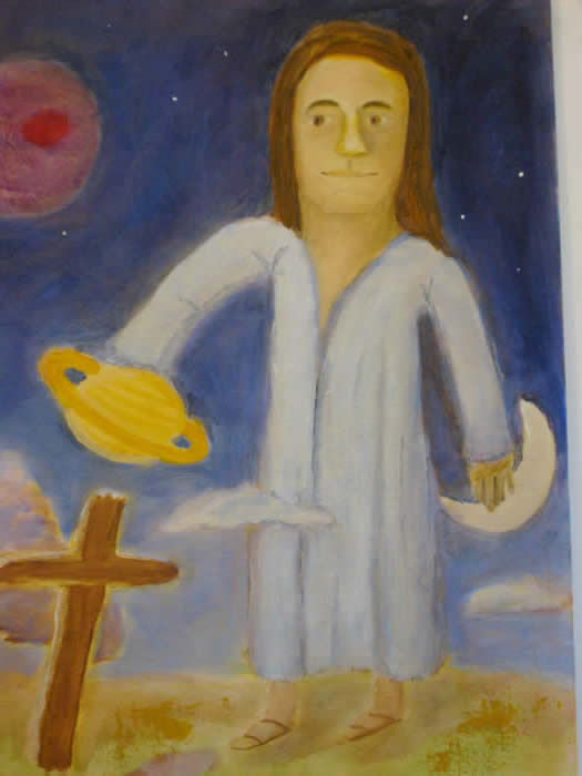Christ standing tall rising into space by Planet Juipter,moon at left, cross at right